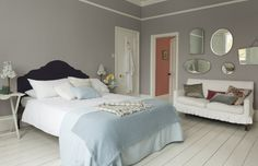 Mauve Grey with Off White Painted Floor Boards