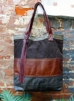 Leather Tote by Uptown Redesigns - www.Upcycled Leather Tote by Uptown Redesigns - www. Recycled Leather, Leather Bags Handmade, Handmade Bags, Tote Purse, Tote Handbags, Clutch Bags, Leather Purses, Leather Handbags, Leather Totes