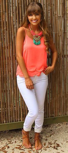 Sealed With A Kiss Tank: Neon Coral.lov this outfit just not the necklace Neon Outfits, Cruise Outfits, Casual Outfits, Fashion Outfits, Womens Fashion, Casual Wear, Summer Capri Outfits, Cute Summer Outfits, Spring Outfits
