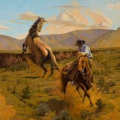 David Griffin, One Stirrup and a Big Night-Mare, oil, 36 x 36.