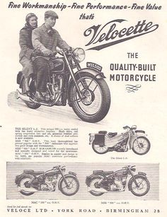 Manufacturer Velocette  Detail ndash Original Advert middot LE middot MSS 500 middot MAC 350  Size A4  Colour B W  Year 1955  Reference