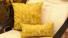 Psychedelic Circles  Metallic yellow green pillow 16x16 by SABDECO, €16.00