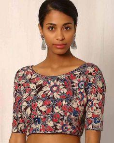 Buy Multicoloured Indie Picks Kalamkari Print Cotton Blouse | AJIO