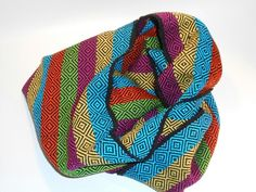 Multi color perle cotton scarf. Handwoven.