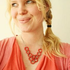 Create a cute necklace with washers.