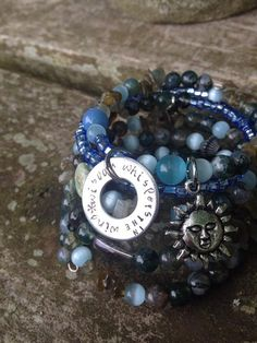 Wisdom Whispers in the Wind: five wrap memory wire beaded bracelet with metal stamped charm on Etsy, $40.00