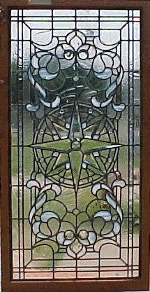 Compass Rose Stained Glass, door to the library/office room...
