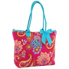 Quilted Tote Bag Paisley Hot Pink Tote Aqua Trim with Free Embroidery  • Zipper Closure • Solid Aqua Ribbon Accent • Monogrammable • Front Zipper & Open Pocket • Open & Zippered Pockets Inside • Materials : Cotton • Color: Hot Pink/Aqua • 16.5(L) x 12.5(H) x 5(W) Pictured: Master Circle font  Select the following from the drop down menus: * Your Font Choice * Your choice of thread color  When you check out, please make sure to leave me the following in notes section:  * Personalization…