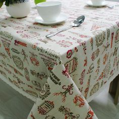 Christmas Theme Linen Table Cloth Rectangular Home Party Dinning Xmas Decoration Waterproof Oilproof Table-Cloth #Affiliate