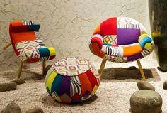 Poltrone panche e pouf Cartagine Motivi zebrati, colori accesi e richiami esotici