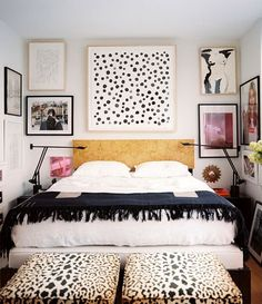 How to make a small bedroom stylish - some good pointers in this post, from wall art to animal print accents.