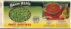"Canning Label ""Happy Meals Early June Peas"" Greenmount Canning Co Maryland 
