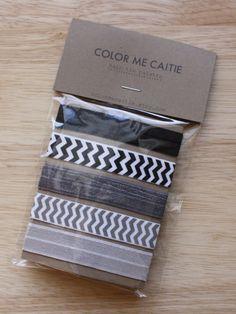 Elastic Hair Ties  black glitz palette set of 5 by colormecaitie, $8.00