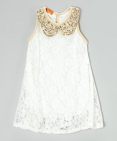 Loving this White Lace Collar A-Line Dress - Toddler & Girls on #zulily! #zulilyfinds