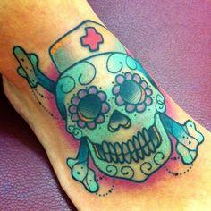Nurse Sugar Skull... Neat! My son wants me to get a sugar skull and I am a nurse..x
