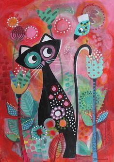 Cat Doodle, Cat Bedroom, Bird Artists, Black Cat Art, Cat Sketch, Bird Poster, Silly Cats, Funky Art, Spring Art