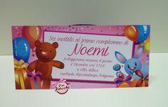 Un invito con orsacchiotto e coniglietto per il primo compleanno della piccola Noemi