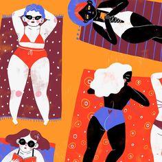 sonialazo Beach Illustration, Illustration Artists, Beach Tan, Summer Beach, Halloween Kostüm, Diversity, Color Inspiration, Illustrator, Contrast