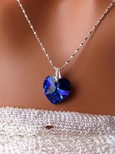 Swarovski elements heart pendant necklace sterling silver sparkly jewelry heliotrope - pinned by pin4etsy.com