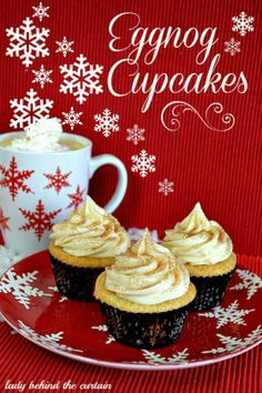 Eggnog Cupcakes by Lady Behind the Curtain. Fluffy eggnog cupcakes topped with a rich eggnog cream cheese frosting.