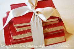 Red and White; Books and Bow - so sweet :)