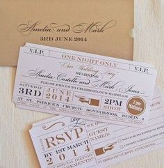 theater ticket place cards | ... Wedding Invitations : Theatre Ticket &…