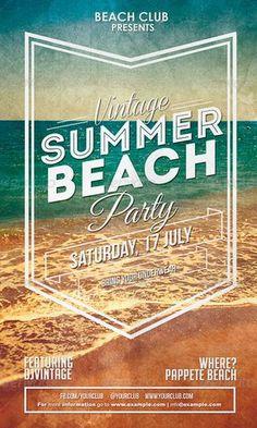 Vintage Summer Beach Party Flyer