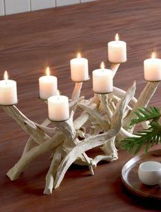 Porta velas em troncos escória