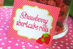 STRAWBERRY SHORTCAKE Food labels - Girls Birthday Party - Little Girl - Ladies Tea Party - Baby Shower - INSTANT Download - Krown Kreations  Cute colors
