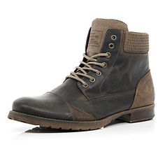 Dark brown contrast panel military boots $130.00 river island