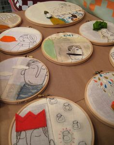 Embroidery hoops ready to be hung for the new Spotlight Series show.  Many of Mummysam's extraordinary new work's are now available in the Spotlight Shop @ Renegade Handmade! www.renegadehandmade.com/index.php?main_page=index&cP...