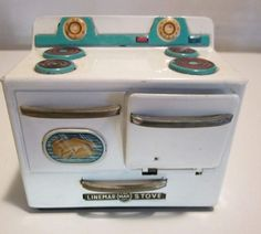 "Vintage Linemar ""Little Miss Kitchen"" toy stove."