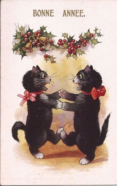 CATS AT CHRISTMAS -INTER-ART Co. FLORENCE HOUSE 5730 VINTAGE #Christmas