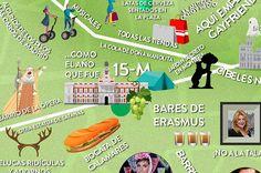 El único mapa que necesitas para entender el centro de Madrid Verbena, Clash Of Clans, It Works, Wanderlust, Social Media, Maps, Musicals, Tents, Gardens