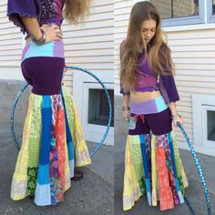Patchwork Eco hooper Pants, rainbow, festival style, hippy clothing, bohemian eco friendly, recycled, up cycled