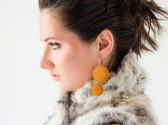 Tangerine orange leather circle earrings