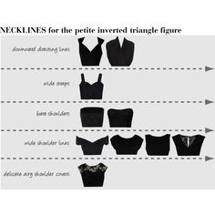 """NECKLINES for the petite inverted triangle figure"" by soliferi-1 on Polyvore"