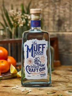 Branding and packaging design for The Muff Liquor Company's potato based Gin. Muff is a small village in County Donegal, Ireland. The brand was inspired by a local farmer, Philip McClenaghan and his old style methods of concocting unusual potato based s… Alcohol Bottles, Liquor Bottles, Gin Liquor, Whisky, Vodka, Tequila, Gin Distillery, Gin Tasting, Gin Brands