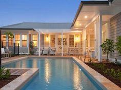 poolside weatherboard Facade House