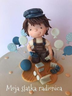 Vintage cake for little boy Little Boy Cakes, Cakes For Boys, Little Boys, Cake Models, Fondant Figures Tutorial, Fondant Cake Toppers, Fondant Decorations, Polymer Clay Dolls, Jewelry Dish