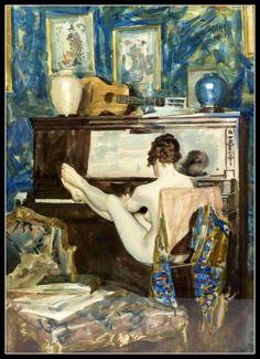 Frank Snapp (1876 - 1927) - Nu Jouant du piano, gouache, 66 x 47 cm