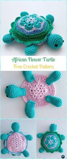 Amigurumi Crochet Crochet African Flower Turtle Free Pattern -Crochet Turtle Amigurumi Free Patterns