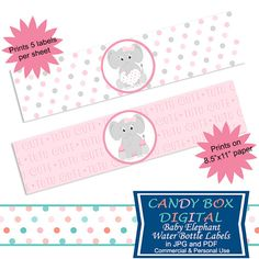 Ready-To-Print Girl Baby Elephant Water Bottle Labels or Napkin Wraps for Baby…