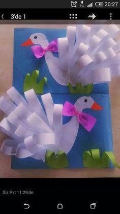 Swan craft for kids. - Bird Crafts for Kids Kids Crafts, Summer Crafts, Preschool Crafts, Easter Crafts, Projects For Kids, Diy And Crafts, Craft Projects, Art N Craft, 3d Craft