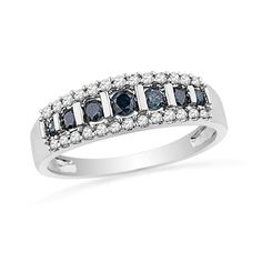 1/2 CT. T.W. Enhanced Blue and White Diamond Stripe Band in 10K White Gold