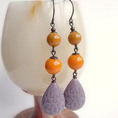 Yellow Purple Bead Drop Earrings Colorful Vintage by skeptis, $21.00