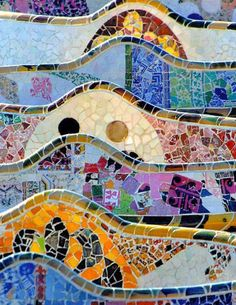 Mosaics of Gaudi's Parc Guell, Barcelona, Spain by IvanWalsh