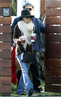 Nicole Richie wearing Paige Premium Denim Exclusive Laurel Canyon Jeans in WC140 Jenni Kayne Square Tunic Love Quotes Scarf in Moonbeam Thierry Lasry Velvety Sunglasses Chanel Lunch Box-Style Bag Chanel Lunch Box-Style Bag