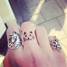 Just got a finger tattoo before work :) #cattattoo #fingertattoo #tinytattoo