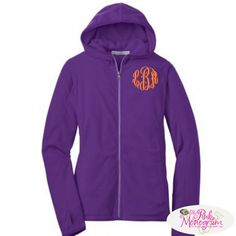 Monogrammed Microfleece Hoodie Jacket in Bright Colors  Apparel & Accessories > Clothing > Activewear > Active Jackets
